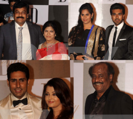 Chiranjeevi Ram Charan at Amitabh Bachchan's 70th Birthday bash